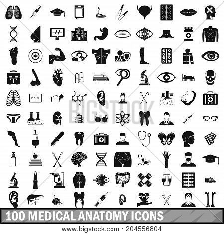100 medical anatomy icons set in simple style for any design vector illustration