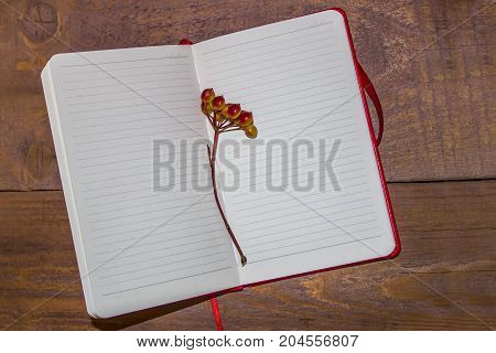 Open notebook with a branch of a viburnum on a wooden background. The concept of autumn mood.