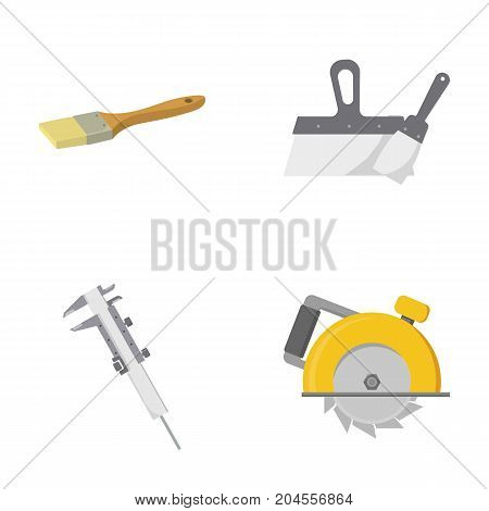 Brush, spatula, caliper, hand circular. Build and repair set collection icons in cartoon style vector symbol stock illustration .