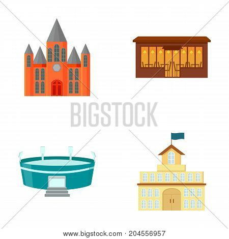 House of government, stadium, cafe, church.Building set collection icons in cartoon style vector symbol stock illustration .