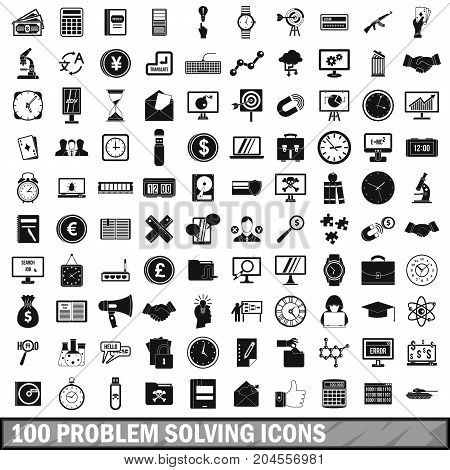 100 problem solving icons set in simple style for any design vector illustration