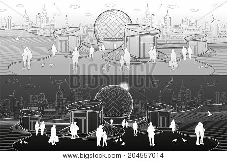 Modern city architecture. Entrance to underpass. Sphere building. Futuristic urban illustration. People walking at street. Airplane fly. Night town. White and gray lines. Vector design art