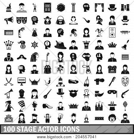 100 stage actor icons set in simple style for any design vector illustration