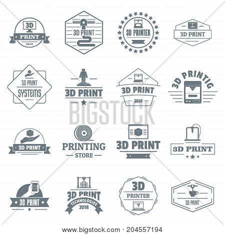 3d printing logo icons set. Simple illustration of 16 3d printing logo vector icons for web