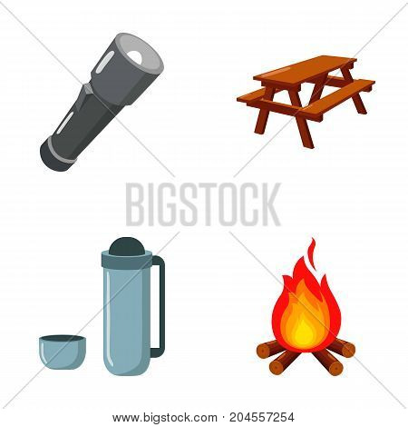 A flashlight, a table with a bench, a thermos with a cup, a caster. Camping set collection icons in cartoon style vector symbol stock illustration .