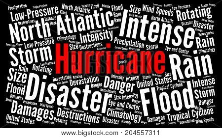 Hurricane word cloud illustration with a black background