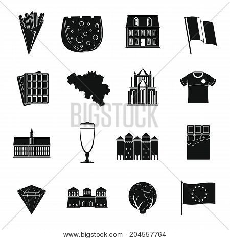 Belgium travel icons set. Simple illustration of 16 Belgium travel vector icons for web