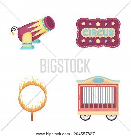 Circus trailer, circus gun, burning hoop, signboard.Circus set collection icons in cartoon style vector symbol stock illustration .