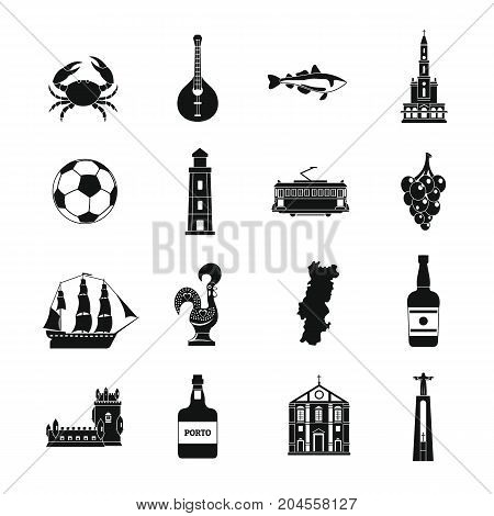 Portugal travel icons set. Simple illustration of 16 Portugal travel vector icons for web