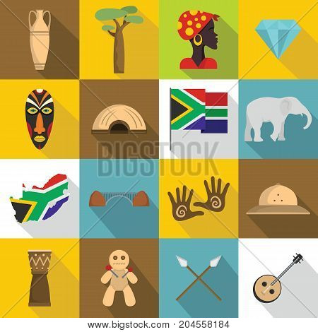 South Africa travel icons set. Flat illustration of 16 South Africa travel vector icons for web
