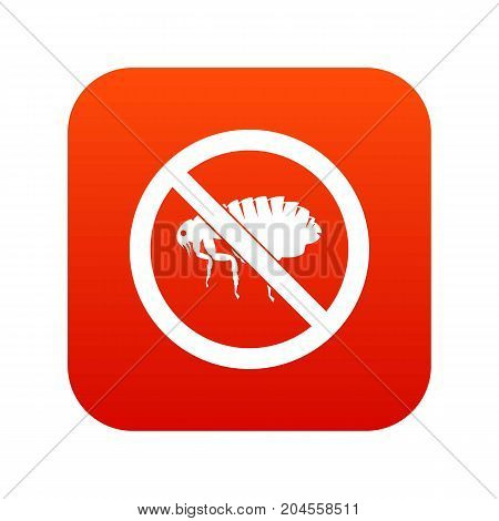 No flea sign icon digital red for any design isolated on white vector illustration