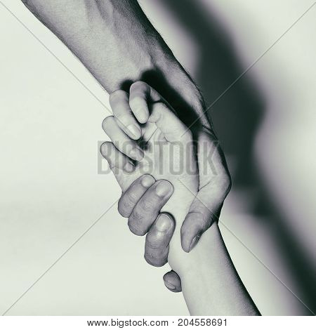 Help To Drug Addicts. Hand-aid Addicts. Black And White