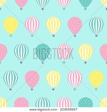 Hot air balloon seamless pattern. Baby shower vector illustration on mint green background. Pastel hot air balloons design for print on baby's clothes, textile, wallpaper, fabric.