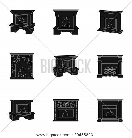 Fire, warmth and comfort. Fireplace set collection icons in black style vector symbol stock illustration web.
