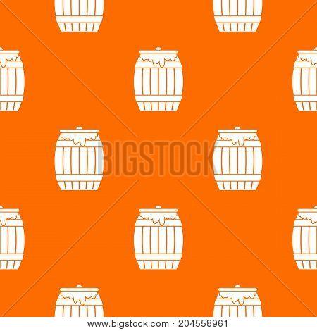 Honey keg pattern repeat seamless in orange color for any design. Vector geometric illustration