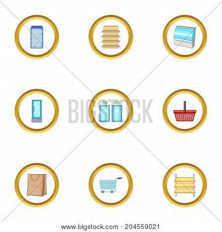 Market basket icons set. cartoon style set of 9 market basket vector icons for web design