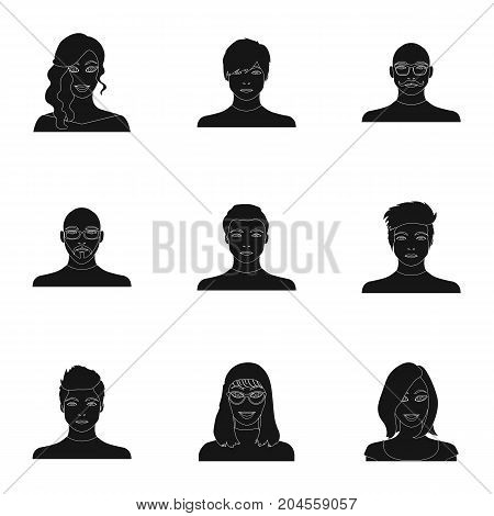 Appearance of the girl in glasses, a guy with a hairdo, a bald man with a beard and other varieties of face. Faces and appearance set collection icons in black style vector symbol stock illustration .