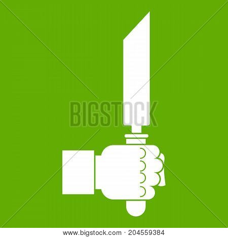 Pincer or plier in man hand icon white isolated on green background. Vector illustration