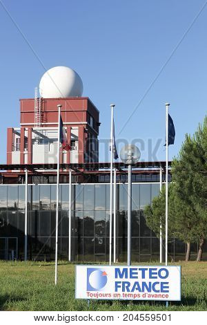 Merignac, France - June 5, 2017: Station and building of meteo France in Merignac near Bordeaux. Meteo France is the French national meteorological service