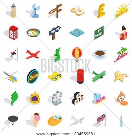 Vacation icons set. Isometric style of 36 vacation vector icons for web isolated on white background