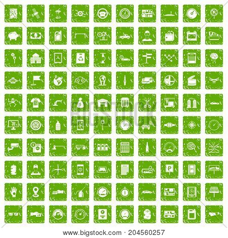 100 auto repair icons set in grunge style green color isolated on white background vector illustration