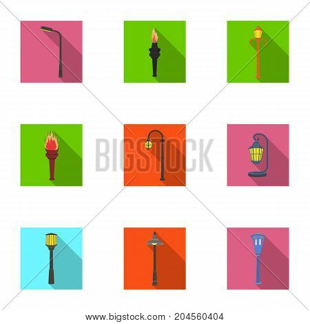 Lamppost in retro style, modern lantern, torch and other types of streetlights. Lamppost set collection icons in flat style vector symbol stock illustration .