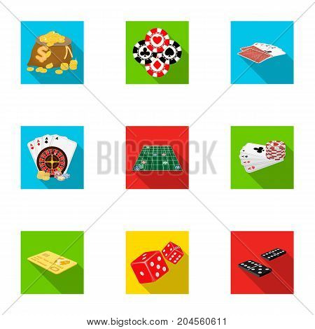 Entertainment, hobby, debt and other  icon in flat style.Excitement, game, casino, icons in set collection.