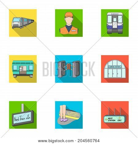 Movement, electric transport and other  icon in flat style. Public, transportation, means icons in set collection. poster