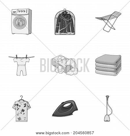 Washing machine, powder, iron and other equipment. Dry cleaning set collection icons in monochrome style vector symbol stock illustration .