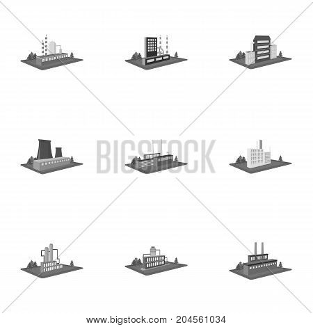 Processing factory, metallurgical plant and other production. Factory and industry set collection icons in monochrome style isometric vector symbol stock illustration