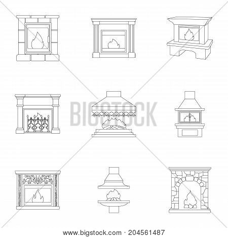 Fire, warmth and comfort. Fireplace set collection icons in outline style vector symbol stock illustration web.