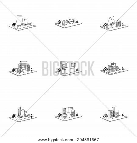 Processing factory, metallurgical plant and other production. Factory and industry set collection icons in outline style isometric vector symbol stock illustration