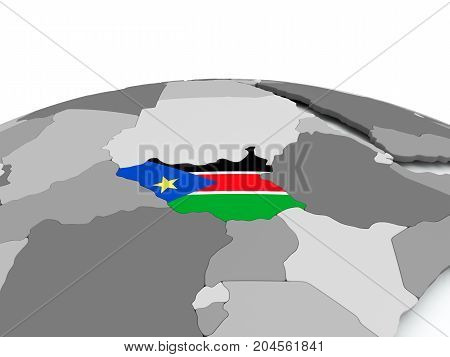 Flag Of South Sudan On Globe