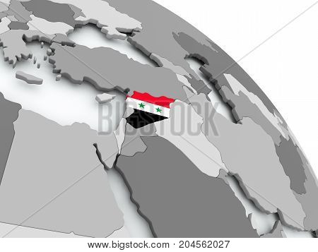 Map Of Syria With Flag On Globe