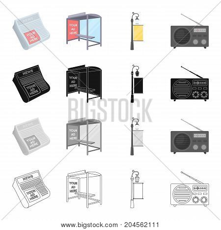 Newspaper, your advertising is here, stop transport, street lamp with banner, radio. Advertising set collection icons in cartoon black monochrome outline style vector symbol stock illustration .