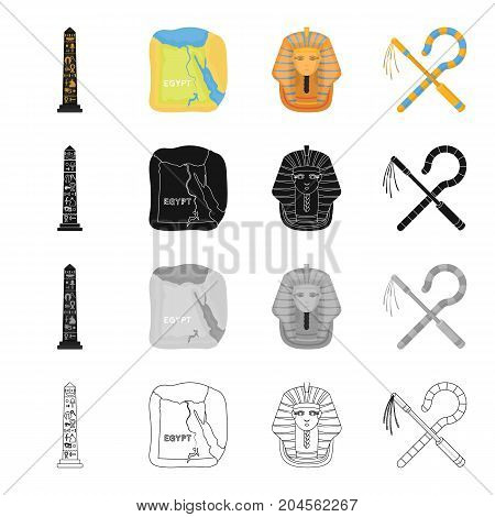 Stone obelisk, map of Egypt, Pharaoh's mask, wand chain and hook. Ancient Egypt set collection icons in cartoon black monochrome outline style vector symbol stock illustration .