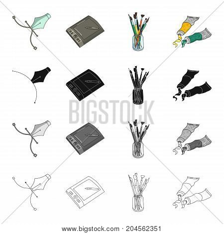 A poster pen, an artist's graphic tablet, paint brushes, artistic paint. Artist and drawing set collection icons in cartoon black monochrome outline style vector symbol stock illustration .
