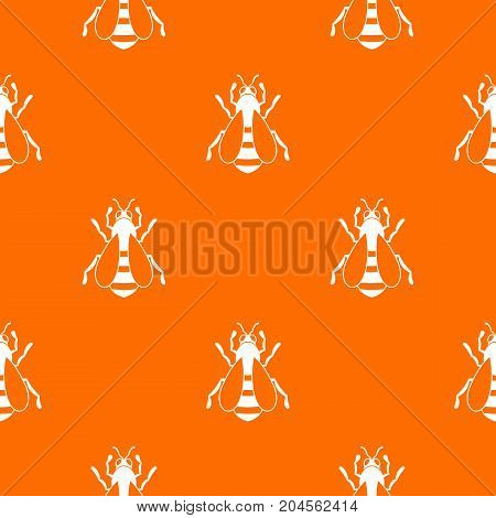 Bee pattern repeat seamless in orange color for any design. Vector geometric illustration
