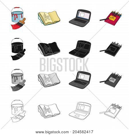 A bucket with paint and a brush, a notebook for drawings, an artist's notebook, a box of colored pencils. Artist and drawing set collection icons in cartoon black monochrome outline style vector symbol stock illustration .