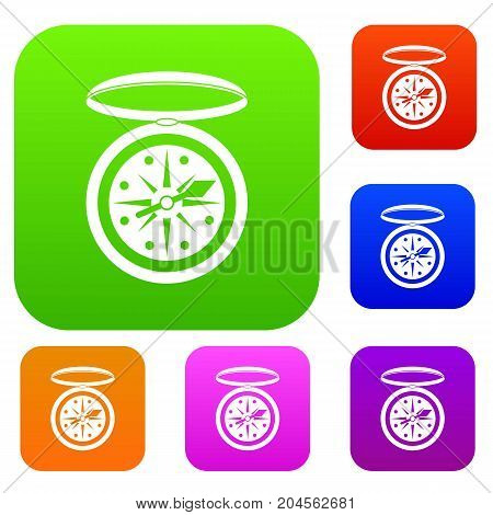 Compass set icon color in flat style isolated on white. Collection sings vector illustration