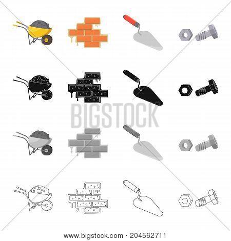 Construction wheelbarrow, brickwork, trowel, bolt with nut. Construction and repair set collection icons in cartoon black monochrome outline style vector symbol stock illustration .