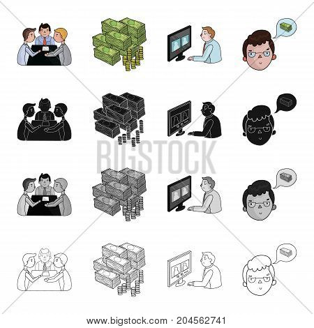 Discussion of businessmen, money, videoconference, business idea. Business conference set collection icons in cartoon black monochrome outline style vector symbol stock illustration .