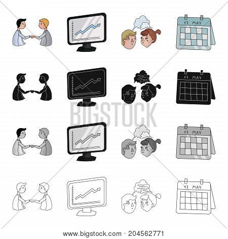 Business transaction, videoconference, schedule on the monitor, brainstorming, date in the calendar. Business conference set collection icons in cartoon black monochrome outline style vector symbol stock illustration .