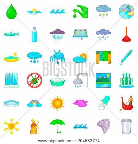 Shower icons set. Cartoon style of 36 shower vector icons for web isolated on white background