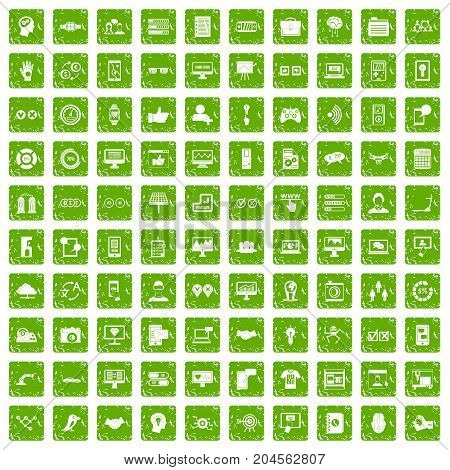 100 interface icons set in grunge style green color isolated on white background vector illustration