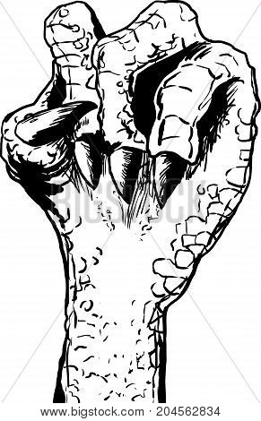 Lizard Clenched Fist Outline