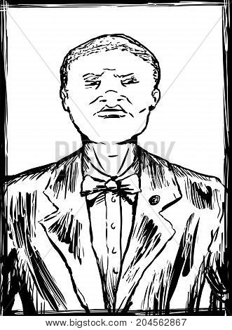 Outlined Sketch Of Nation Of Islam Member