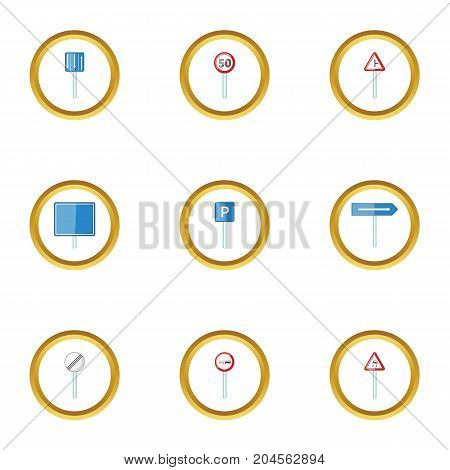 Traffic sign icons set. cartoon style set of 9 traffic sign vector icons for web design