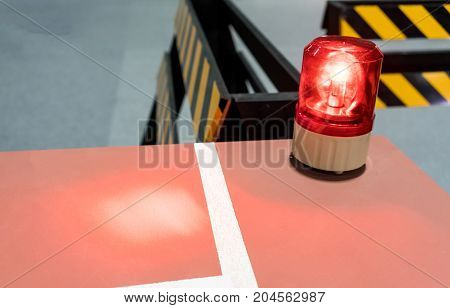 Red Siren On Metal Cabinet. Warning Light For Safety