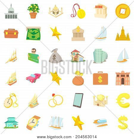 Rich icons set. Cartoon style of 36 rich vector icons for web isolated on white background